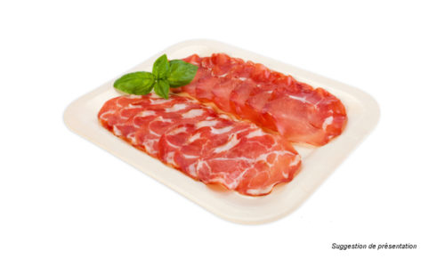 plat présentation cochonnaille - wooden trays, sealable wooden trays, wooden sleeves for sausages, cold cuts and cured products - Anillos de madera para salchichones