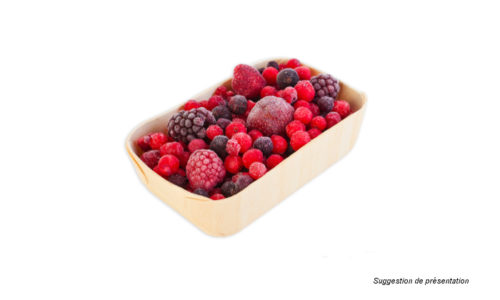 fraises, framboises, myrtilles, groseilles, cassis, fruits des bois - wooden packaging for frozen fruit - envase madera para frutas congelados