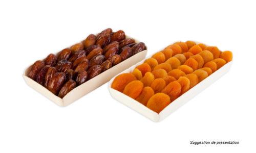 dattes, figues séchées, amandes, raisins secs, pistaches, cacahuete - wood and carboard trays for fruits and vegetables, -  bandejas maderas y carton par frutas y vegetales