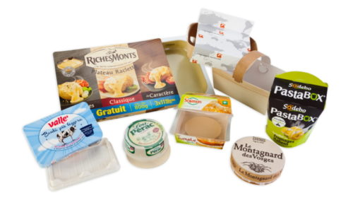 sodebo, pastabox, lou perac, richemont, le montagnard des vosges, sojasun, valle' - multi material, technical and pratical packaging - envases multi materiales madera carton plastico